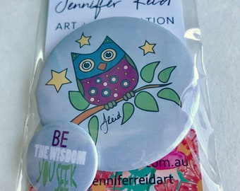 Be The Wisdom You Seek Owl Button Pack
