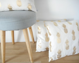 Cushion cover 40 x 40 square pillow cover fabric plain white printed Golden pineapple, home décor, exotic, tropical fruit