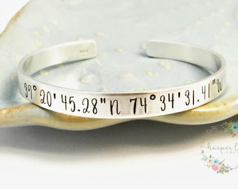 Sterling Silver ~ Custom Coordinates ~ Latitude ~ Longitude ~ Personalized ~ Long Distance Cuff Bracelet ~ GPS ~ DMS ~ Affirmation ~ Wander