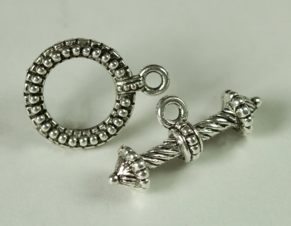 Antique Silver Colored Toggle Clasp 12.5mm Round with 22mm Bar Decorative Ribbed 1 set