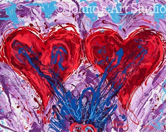 Valentines Day art, Red Heart wall art, impressionism wall art, Gift for sweetheart, TWO HEARTS Print by Johno Prascak of Pittsburgh