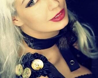 harness steampunk oberteil braun rüschen wgt gothic lolita knöpfe victorianisch