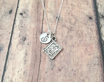 Book initial necklace - book jewelry, teacher jewelry, bible necklace, teacher gift, gift for reader, silver book pendant, librarian jewelry