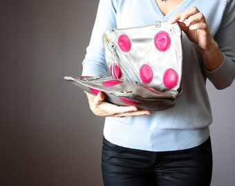 SALE Metallic leather clutch, fold over  purse, soft leather purse in Pewter with giant Hot Pink polka dots