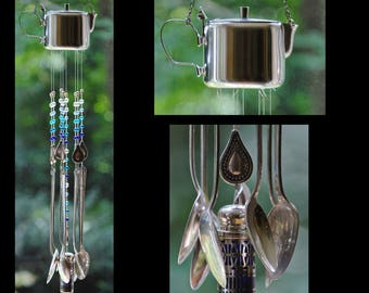 Upcycled, recycled vintage silverware wind chime - Paisley Pitcher