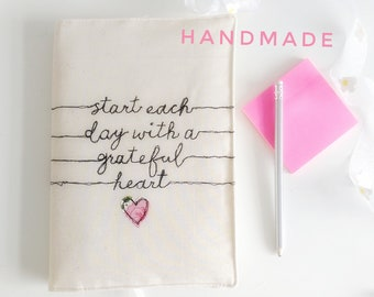 Start every day with a grateful heart journal notebook freehand machine embroidery ruled paper bullet journal