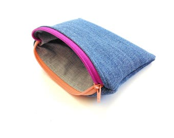 Denim jean change purse, funky colorful zipper pouch, coin pouch small wallet, women teen upcycled jeans bag