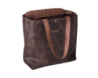 Brown Leather Tote bag - Handmade Leather Bag - Large Carry All bag - Shopping Bag - Leather Handbag - Handcrafted bag - Soft Leather Bag