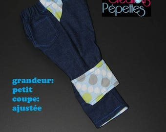 Scalable jeans, size small, slim, blue, green and white polka dots
