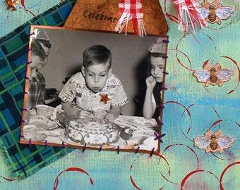 Mixed Media Art Collage Original Mixed Media 1950s Photo Nostalgia Art Original Collage Vintage Photo Birthday Party Boy Cake Aqua Red
