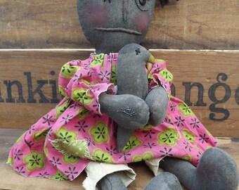 Handmade Rag Doll,Primitive Black Doll, Primitive Raggedy Doll, Primitive Rag Doll