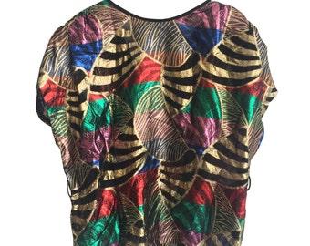Multicolour 1980s Rayon Metal Fiber Disco Blouse Size M E D I U M