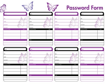 Password Organizer - Fillable & Printable