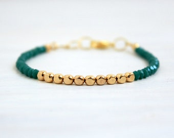 Dainty Gold Beaded Stack Bracelet Minimalist Jewelry Gift for Her Emerald Green Gold Delicate Thin Bracelet