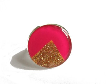 PINK RING - geometric ring - gold triangle - Glitter Ring - TRIANGLE ring