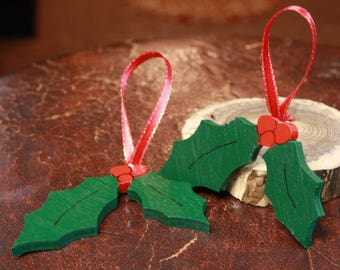 """Classic Christmas Tree Ornament -""""Deck the Halls!""""  - Holly Leaf and Berries - Hand Painted Scroll Saw Woodcut - Primitive Design"""
