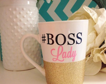 Glitter Dipped Boss Lady Mug, Personalized, Monogram SALE