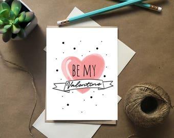 Be My Valentine, Valentine Card, Valentine Heart Card, Love Card, Valentine Card Set, Pink Valentine