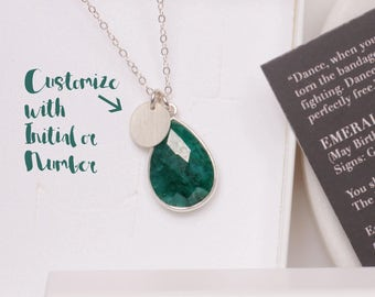 Personalized May Birthstone Custom Necklace - Sophisticated Emerald Necklace - Silver Emerald necklace - Jewelry for layering - Mother's Day