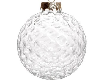 5 Pieces x DIY Paintable 3.15 Inch (80mm) Transparent Christmas Decoration Glass Golf Ornament