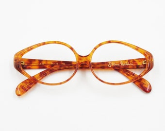 Vintage rhomboidal orange dappled Silvano Naldoni 522 eyeglasses sunglasses frame, Rare uncommon shape, Vintage 1970s