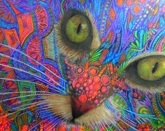 original art  16x11  drawing colorful cat spirit animal zentangle design