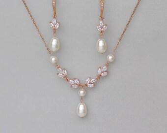 Rose Gold Bridal Set, Rose Gold Jewelry set, Rose Gold Pearl Bridal Set, HAYLEY RGP