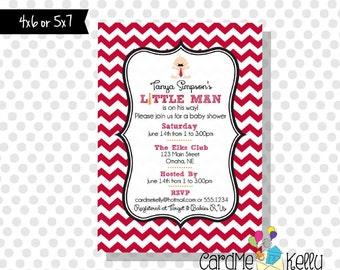 Printable Little Man Necktie Mustache Baby Shower Invitation - Digital File