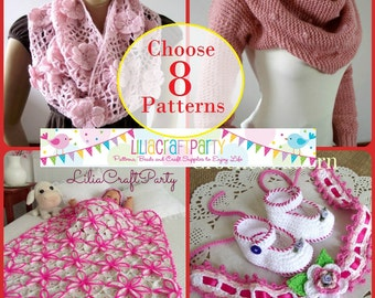 Knitting and Crochet PATTERN DISCOUNT - CHOOSE 8 - Your choice of 8 patterns Instant Download Knit and Crochet pattern easy to follow