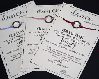 12 Dance Wish Bracelets ... Pick Your Color ... Great for Team Gifts, Team Spirit, Friendship Bracelets, Birthday Favors and More!