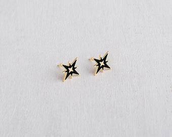 Black Star Earrings, Star Stud Earrings, Dainty Black Earrings, Delicate Earrings, Earrings for Girls, Small Black Earrings, Girls Earrings