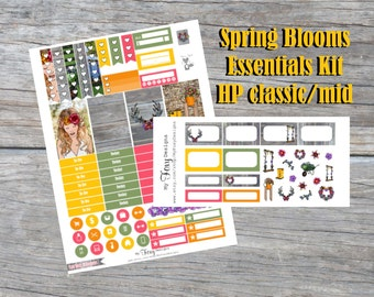 Planner / Agenda Stickers, Spring Blooms Essentials Kit for HPclassic/mid planner   [00327]