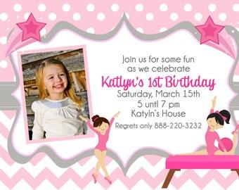 GYMNASTIC Invitation, Gymnastics Birthday Invite, Girls invitations, Gymnastic Party, Tumble Invite, Tumble Party, Dance Party, Pink Chevron