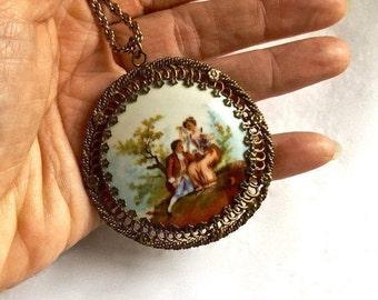 Antique Victorian Necklace Hand Painted Porcelain Necklace