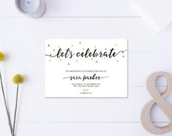 Let's Celebrate // Birthday Invitation // Metallic Gold & Black // DIY Printable File // Digital PDF File