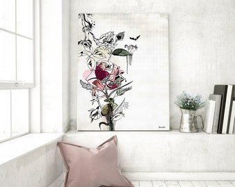 SALE, Modern Wall Art, Flower Print, Red Wall Art, Flowers Painting, Watercolor Art, Modern Art Print, Red Painting, Floral Art, Rose Print