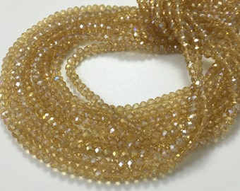 3 Full Strands Glass Crystal beads,3*4mm Rondelles-Gold