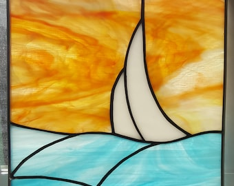 Stained Glass Sailboat Panel
