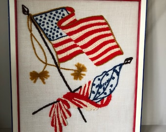 Vintage patriotic yarn art American Flag framed Stars and Stripes needlework