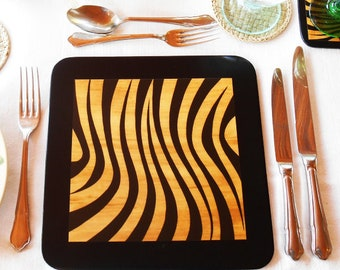 Placemats, Set of 4, decorated with Zebra Stripe Print, hand painted black background & hand tied with a black ribbon