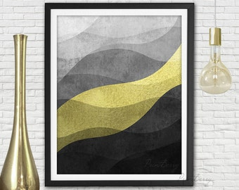 Printable abstract art Abstract modern art Modern printable art Gold foil print Gold foil art Gold and black decor Black and gold decor wave