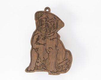 Pug Ornament from Timber Green Woods. Made in the U.S.A! -  Personalize it with Name Engraving - Walnut Wood (Seated Pug)