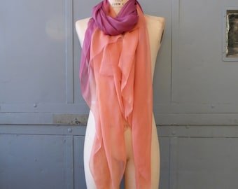 Natural dyed silk and wool scarf shawl in peach and magenta with sandalwood and lac dyes