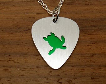 Sea Turtle Necklace or Turtle Keychain, Tortoise Guitar Pick, Pendant, Music Jewelry