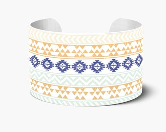 Aztec Print Personalized Cuff Bracelet, Personalized Cuff Bracelets, Monogrammed Cuff Bracelet, Custom Personalized Create Your Own
