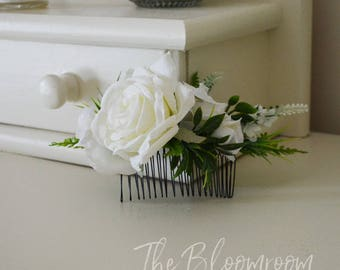 White & green comb, White rose comb, Luscious hair comb, Classy hair comb, Party hair comb, Flower hair piece, Wedding flower comb, Natalia