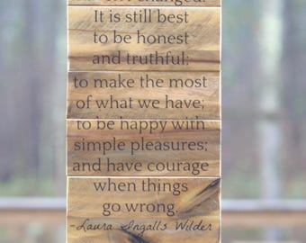 "Laura Ingalls Wilder Quote Wall Art - 10"" x 20"" - Modern Rustic Wood Signs for home - Inspirational Wood Sign - Housewarming gift"