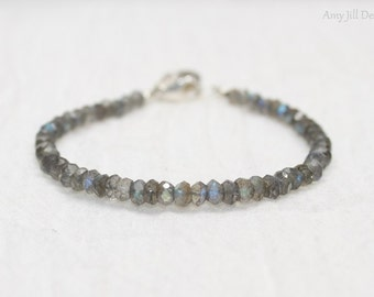 Labradorite Bracelet, Labradorite Jewelry, Wire Wrapped Hanging Stone, Sterling Silver, Blue Flash, Gemstone Jewelry