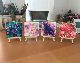 TILE art coasters acrylic dirty pour flip cup fluid art abstract alcohol inks