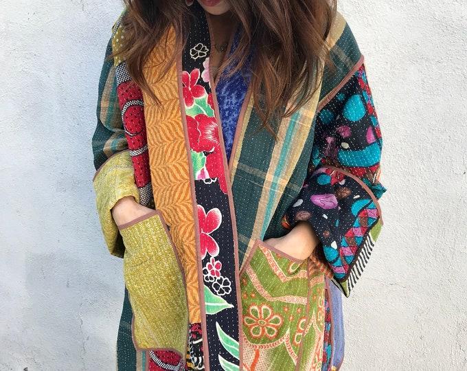 Artist plus size kantha reversible coat
